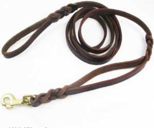 JWPC Genuine Leather Dog Leash with Dual Handle