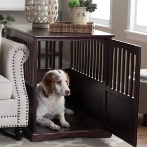 Newport Dog Crate Kennel Cage End Table Wood