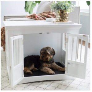 Polar Bear's Pet Shop End Table 2 Door White Wood Bed