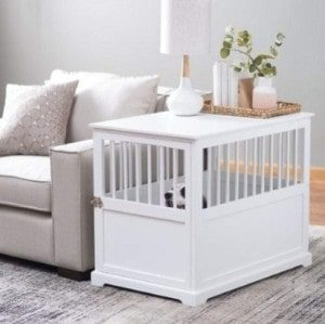 Polar Bear's Shop Furniture Pet Crate Dog Kennel White Medium End Table