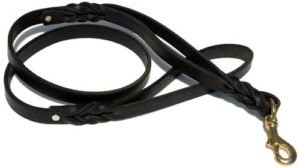 Signature K9 Double Handle Braided Leather Leash