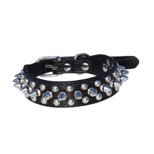 TOOGOO Leather Spiked Studded Dog Collar