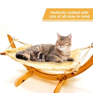 Mindful Grasshopper Wooden Hammock Bed For Cats