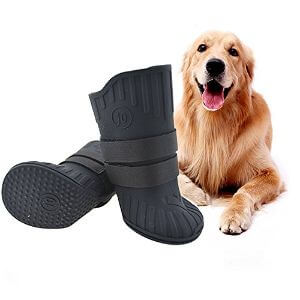 FLAdorepet Rubber Dog Rain Shoes Paw Protector