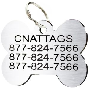 CNATTAGS Stainless Steel Bone Shape Pet ID Tag