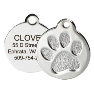 GoTags Paw Print Round Stainless Steel Pet ID Tag