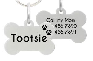 Io Tags Bone Shaped Stainless Steel Pet ID Tag