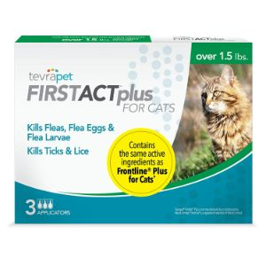 TevraPet FirstAct Plus Flea and Tick Topical for Cats over 1.5lbs
