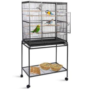 Gaintex 63'' Rolling Bird Cage with Stand & Storage Shelf