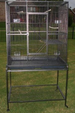 Pet Products Large Wrought Iron Flight Cage With Removable Rolling Stand Bird Cage