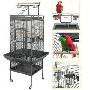 SUPER DEAL PRO 2in1 Large Bird Cage with Rolling Stand
