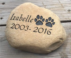 Upstate Stone Works Personalized Pet Memorial River Stone