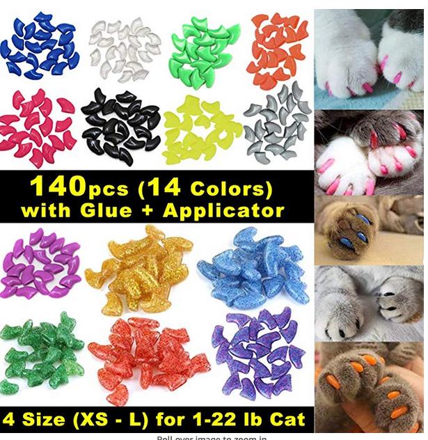 VICTHY 140 pcs Cat Nail Caps