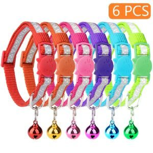KOOLTAIL 6 Pcs Reflective Cat Collars