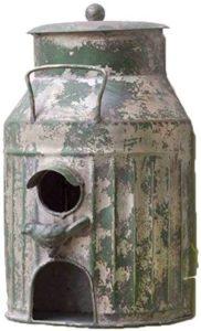 CTW Home Rustic Metal Milk Can Birdhouse