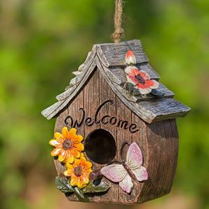 Dawhud Direct Butterfly and Flowers Decorative Bird House