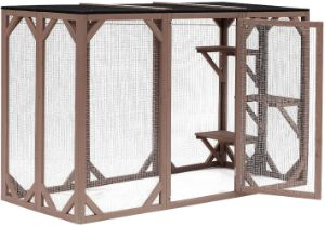 PawHut Large Wooden Outdoor Cat Enclosure