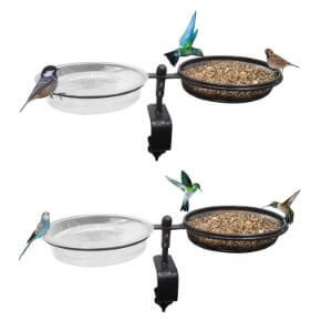 Deck Mounted Bird Feeder and Bird Bath