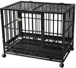 TONYRENA Heavy Duty Folding Metal Dog Crate