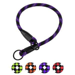 BRONZEDOG Rope Dog Collar Slip Reflective Pet Collars