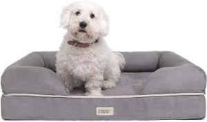 Friends Forever Memory Foam Dog Bed With Cushioned Bolster