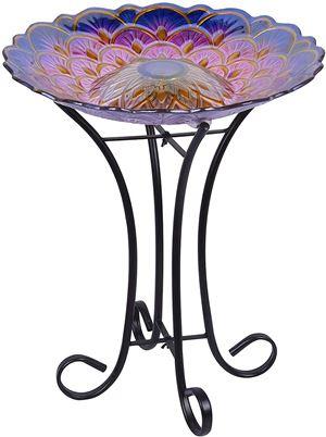 Hi-Line Gift Solar Floral Glass Bird Bath