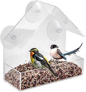LANSCOERY Clear Acrylic Window Bird Feeder