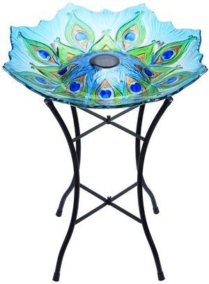 MUMTOP Outdoor Glass Birdbath