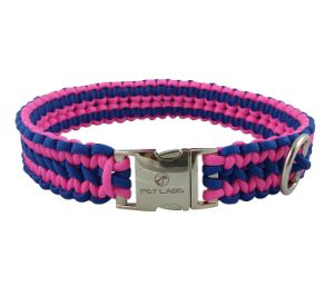 Pet Labs Paracord Dog Collar with Buckle – Blue and Pink
