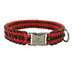 Pet Labs Paracord Dog Collar with Buckle – Red and Black