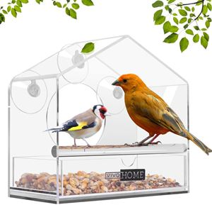 VIVOHOME Squirrel Proof Window Bird Feeder