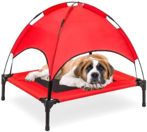 RELIANCER Elevated Dog Cot with Canopy Shade