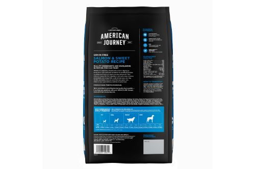 American Journey Salmon & Sweet Potato Recipe Grain-Free Dry Dog Food Back of Packet