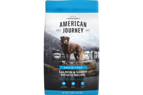American Journey Salmon & Sweet Potato Recipe Grain-Free Dry Dog Food Front of Packet
