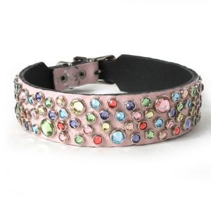 Muttropolis Multi Crystals on Light Pink Leather Dog Collar
