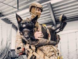 K9F dog parachute, dog with handler